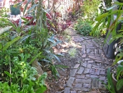 This is a very rustic path wandering through a shady area.