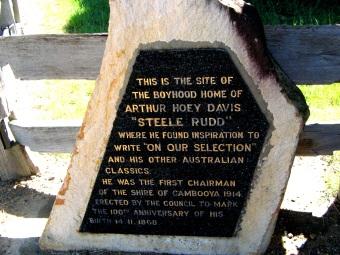 Details of Steele Rudd's memorial hut.