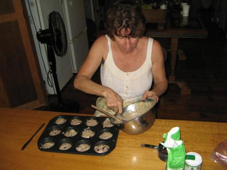 Alison mixing a batch of muffins