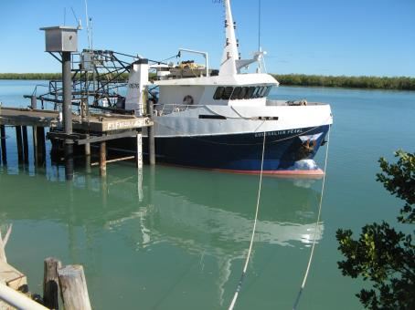 Just one of the trawlers that bring in prawns