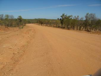 Rough red dirt road, but no dust got into Matilda...