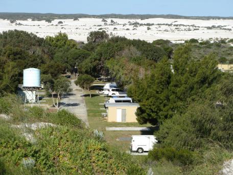 Caravan park nestled among the trees right near the beach