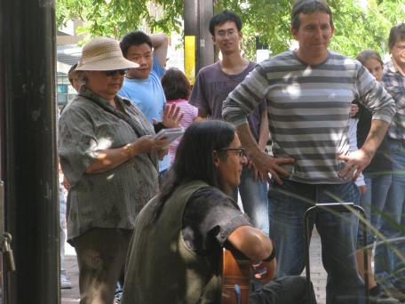 Buskers entertaining the passerbys