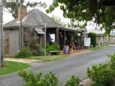 Slab hut used as a tea house with tea leaf readings