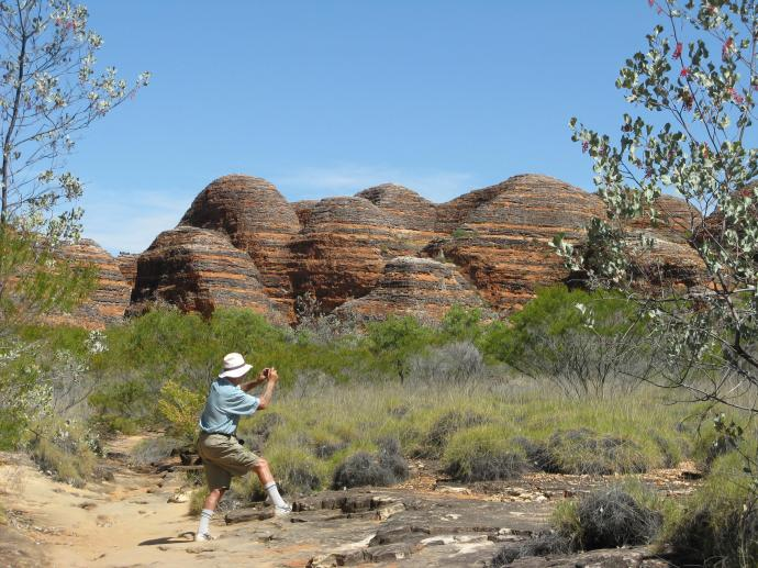 Photographing the beehive formation of the Bungle Bungle