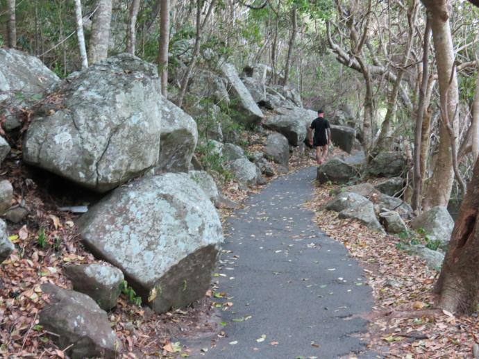 Volcanic rocks line the track