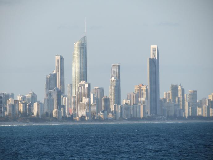Zoomed in on Surfers Paradise