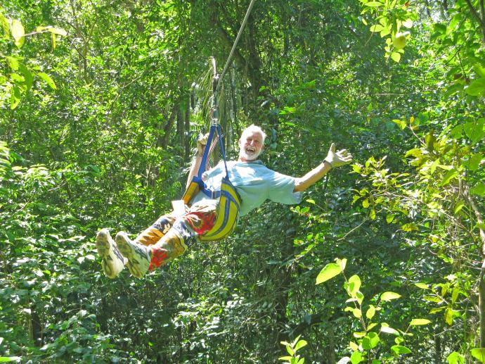 Flying across the rainforest at Eungella