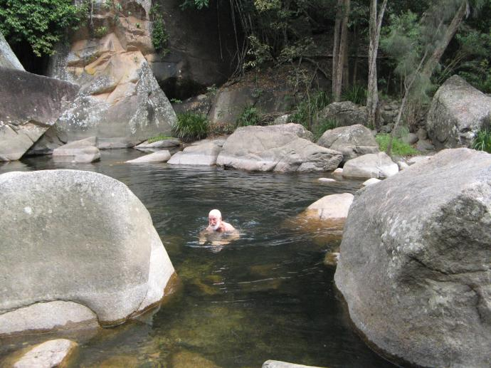 A dip in the pool under the Jourama Falls