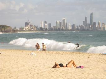 Enjoying the summer sun on Burleigh Beach