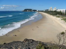 Looking north along Burleigh Beach