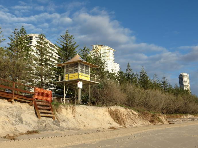 Surf life saving lookout, notice the beach erosion from recent storms
