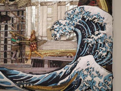 Lovely detail from the large Japanese wall hanging