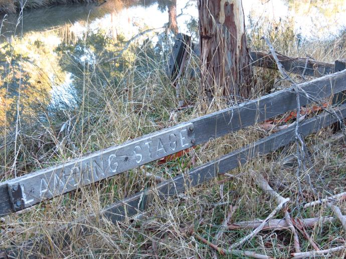 Historic landing stage, very neglected, as a statement by the Aboriginals