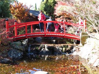 Red bridge with the school children