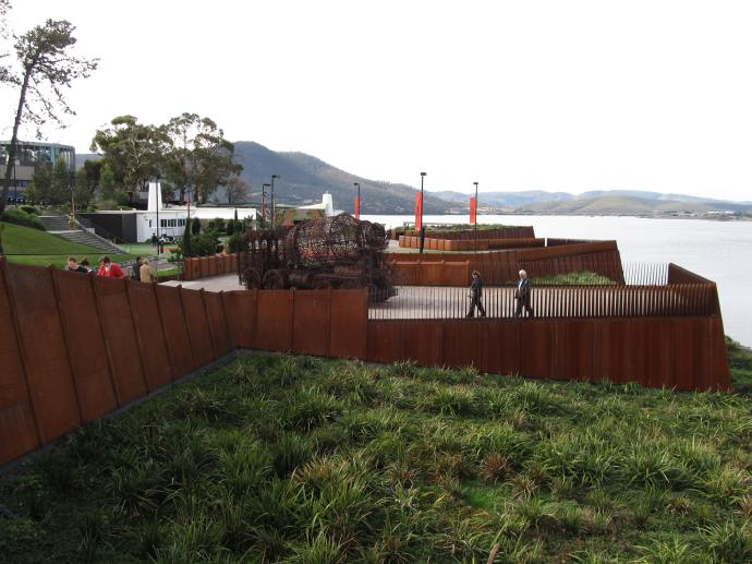 The gardens outside MONA with the amazing truck monument