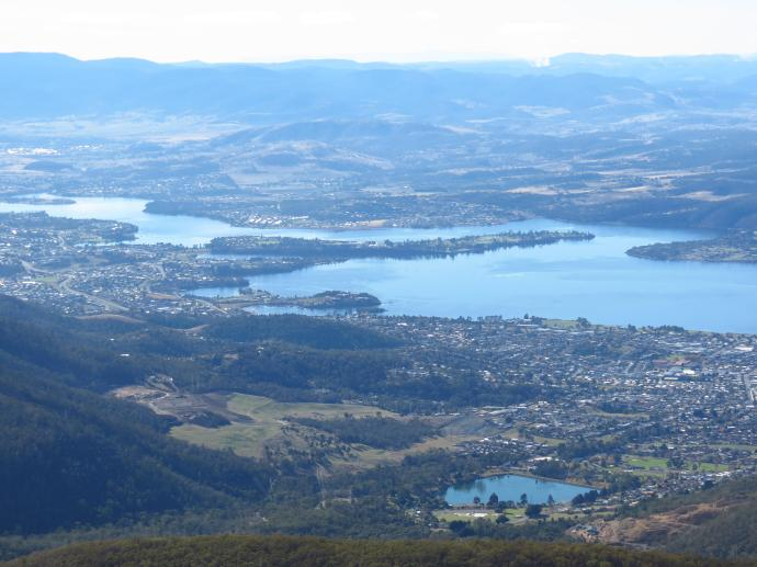 Looking along the Derwent River