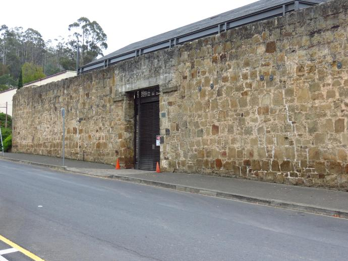 The imposing outer wall of the Female Factory