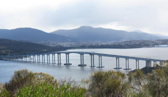Tasman Bridge over the River Derwent to Hobart CBD