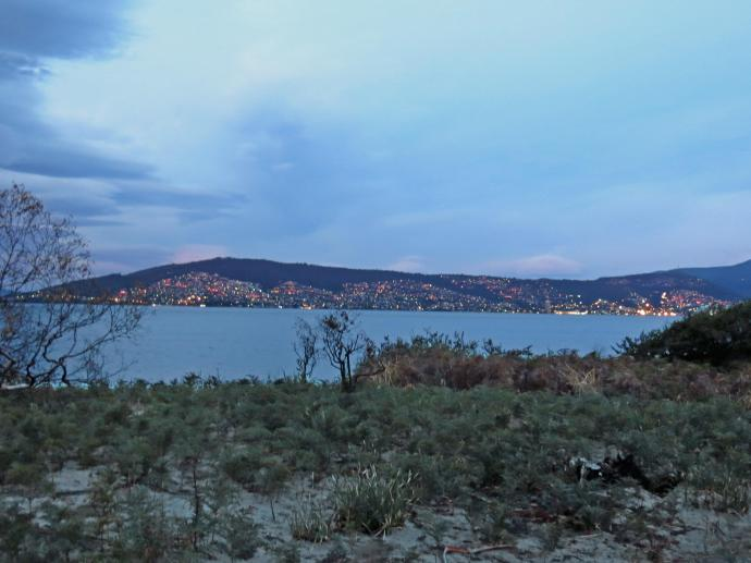 The lights of Hobart across the River Derwent