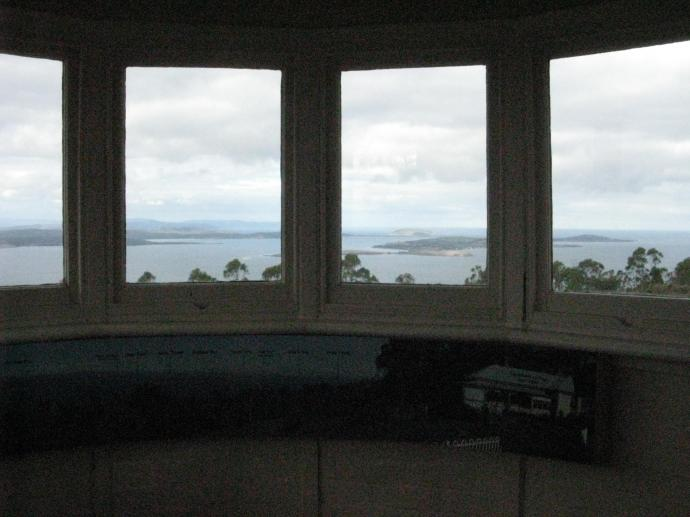 Under the window was a panorama of the view outside with all the places named