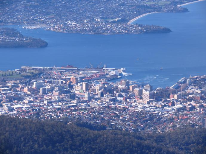 The beautiful city of Hobart nestled in the valley on the banks of the River Derwent