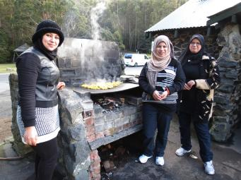 The ladies do the cooking, and it is delicious.