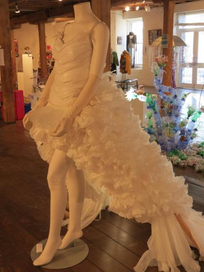 Dress made from plastic bags