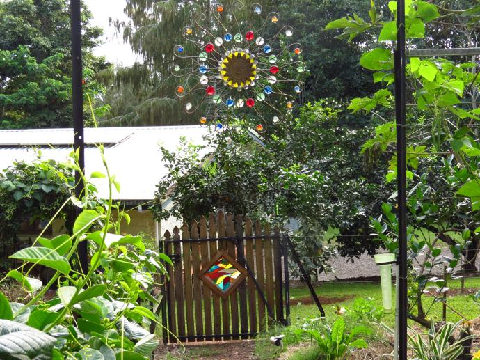 Lyn made the beautiful sun hanging and all the stained glass pieces