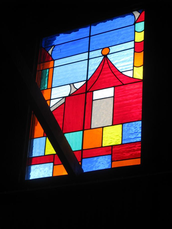 Stained glass window in the Red Barn