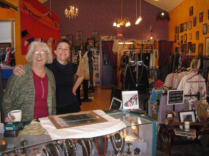 Meg and Mum. Meg designed and made many of the things  and  most of the quality clothing is recycled