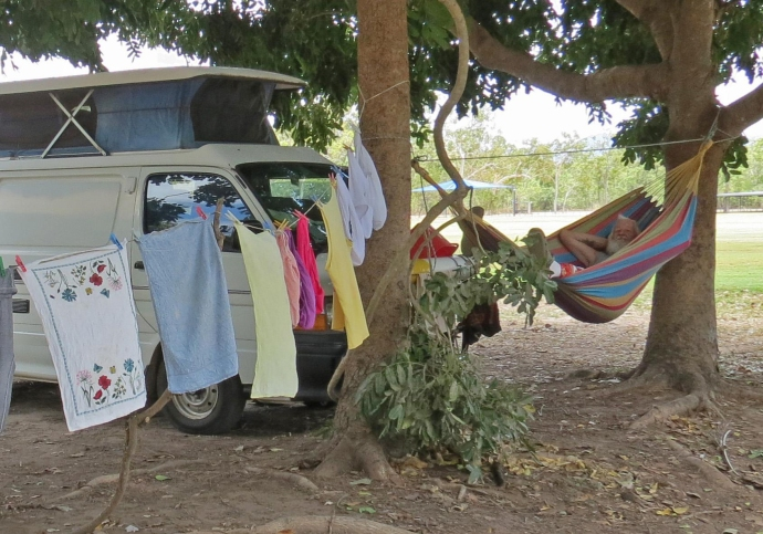 Relaxed after the chores are done in a freedom camping area