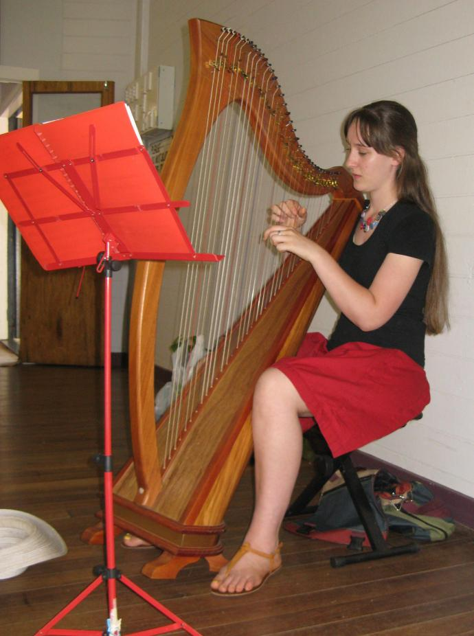In the back ground a harpist played relaxing and harmonious melodies.