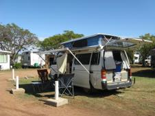 Matilda set up for camping