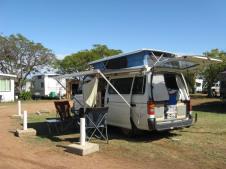 Matilda set up for camping