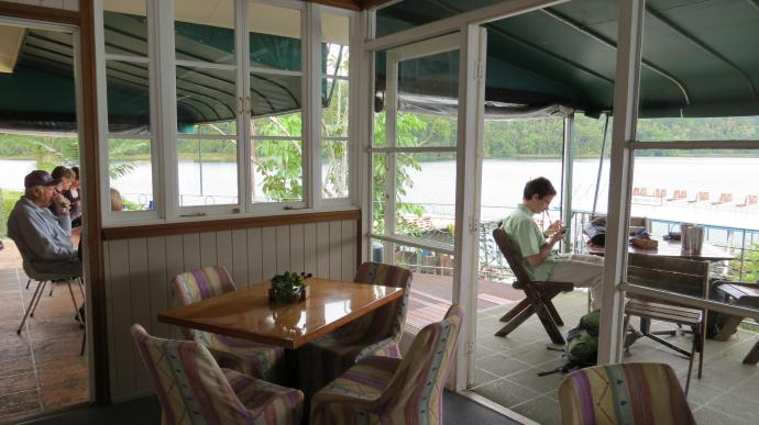 Most people were sitting out on the deck with the view of the Lake spread before them