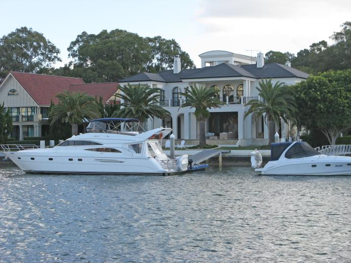 Space for the super yacht of the wealthy to moor at the end of the garden