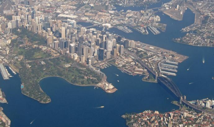 Sydney Harbour, can you see the opera House and the Bridge?