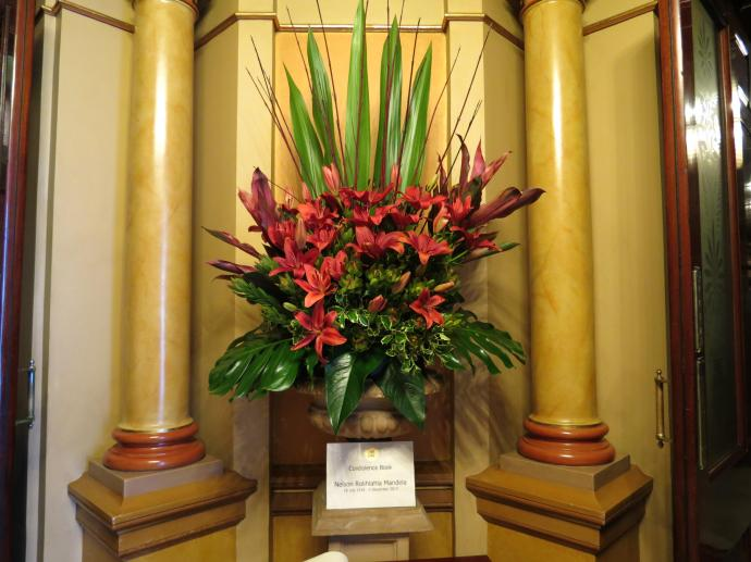 A tribute book was available for Nelson Mandela with this beautiful display of flowers