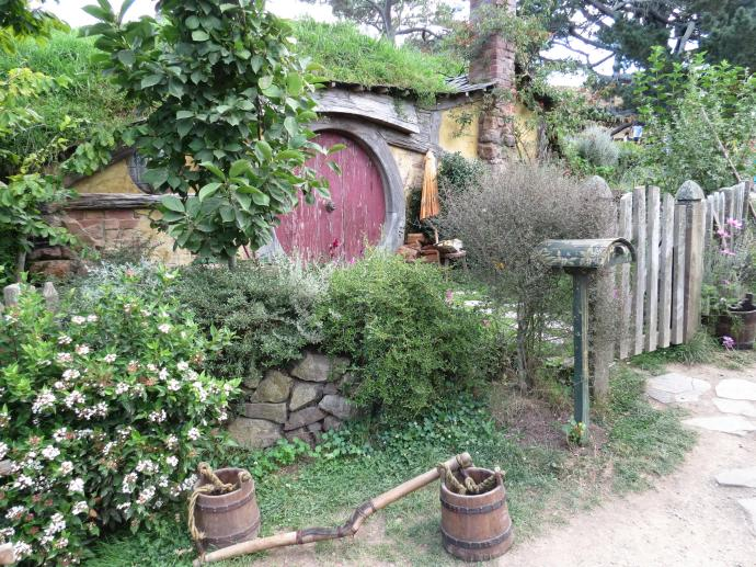 The quaint village of Hobbiton where the movies Lord of the Rings were made.