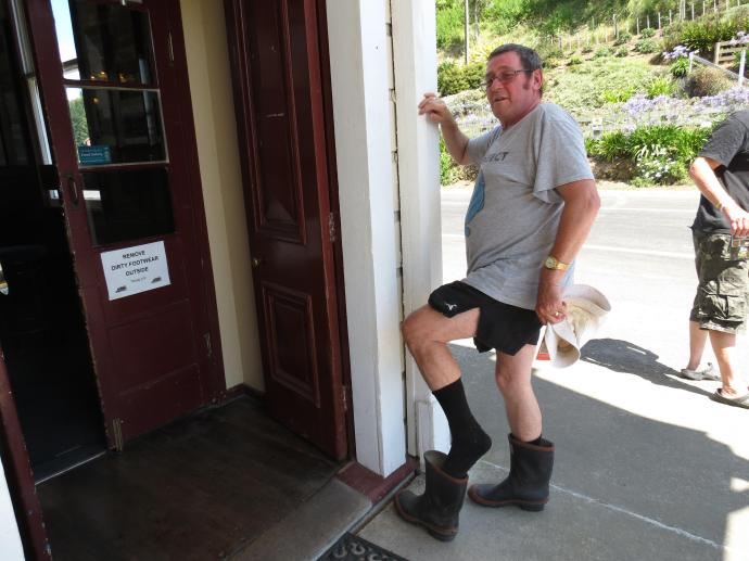 A local obeying the rules of the house. See the notice on the door.