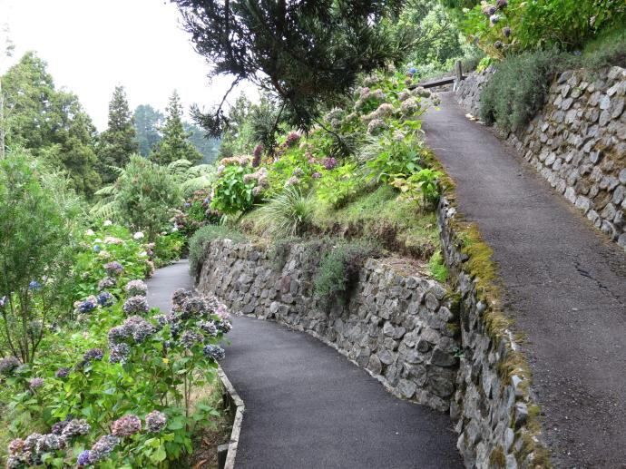 The carefully planned path makes walking down the steep slope easy