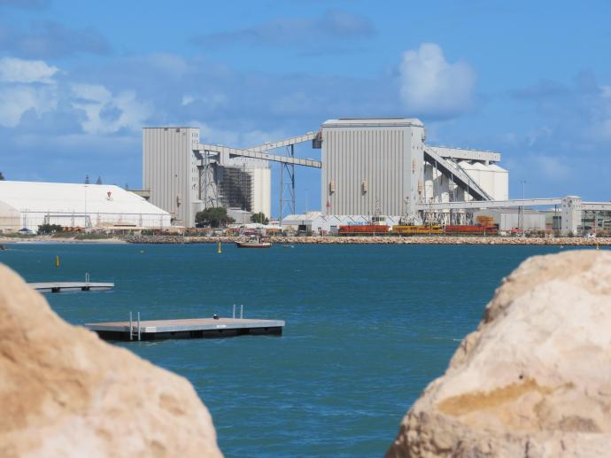 Looking across Champion Bay to the wheat silos at the port