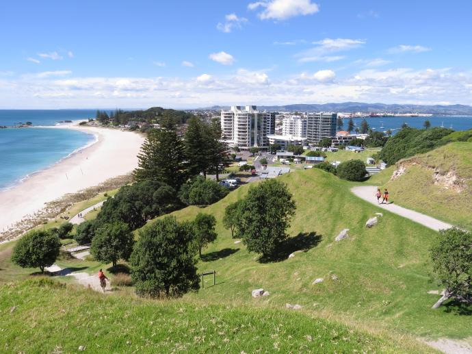 View from the top of the town Mount Manganui