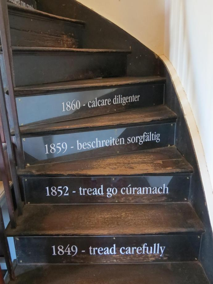 Be careful these stairs are very narrow and steep.