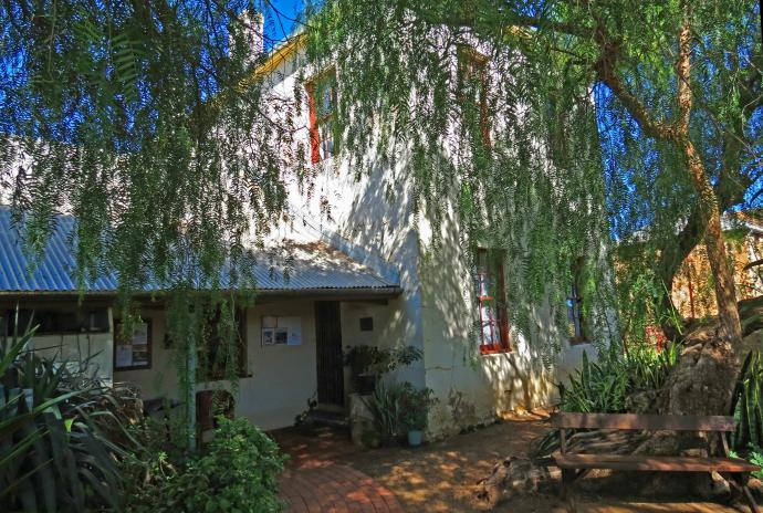 The large, mature pepper trees provide much needed shade for the back of the house.