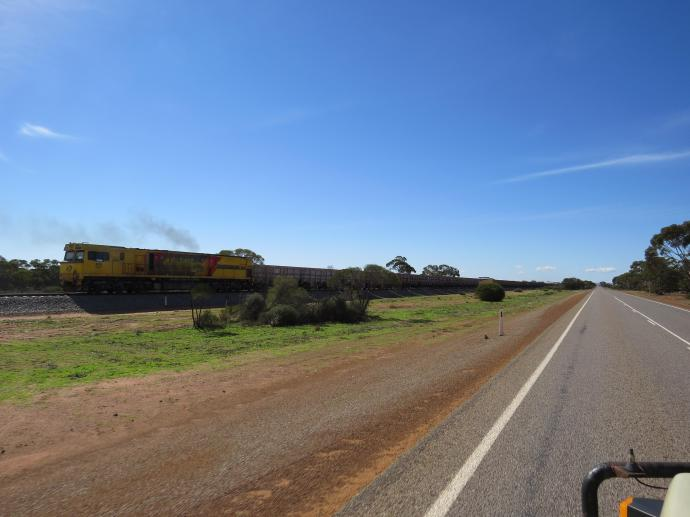 Jack snapped this photo of a train as it came toward us