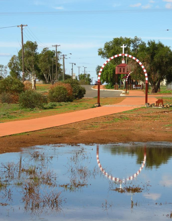 The trail is marked by these arches featuring the colours and design used in the Geraldton Cathedral