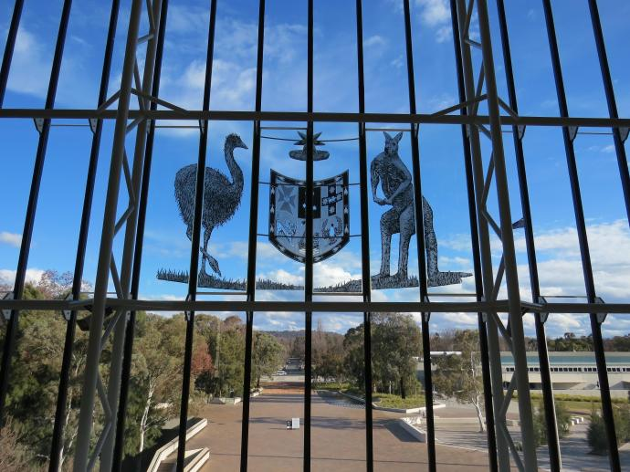 The Australian coat of arms is prominent on the front glass windows