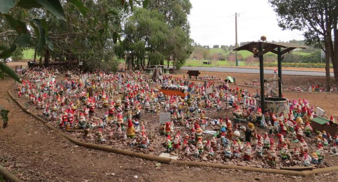 These gnomes are waiting on the side of the road to greet you